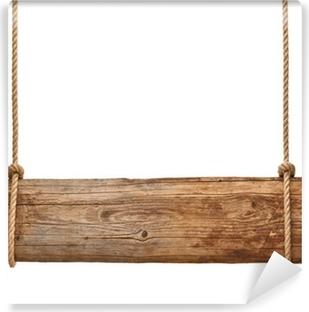 Fototapeta samoprzylepna Drewniany znak wiszące w tle liny wiadomość