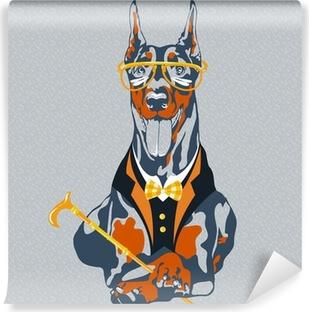 Fototapeta samoprzylepna Ilustracja zabawne kreskówki hipster rasy pies Doberman
