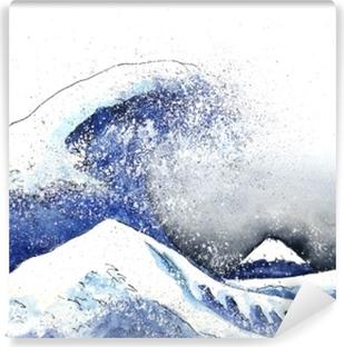 Fototapeta samoprzylepna Japońska wielka fala sztuki. akwarela style.hand drawn