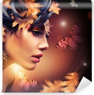 Fototapeta samoprzylepna Jesień portret kobieta mody. spadek