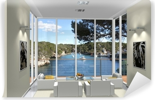 Fototapeta samoprzylepna Living room 3d rendering wykusz