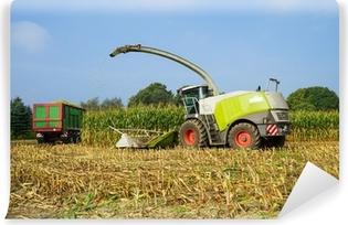 Fototapeta samoprzylepna Maishäcksler und Transportfahrzeuge bei der Maisernte