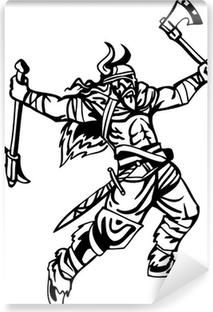 Fototapeta samoprzylepna Nordic viking - czarny biały ilustracji wektorowych. winylu gotowe.