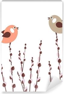 Fototapeta samoprzylepna Oddziałów Pussy Willow z małymi ptaków stylizowane