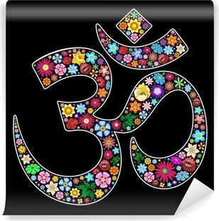 Fototapeta samoprzylepna Om Aum Namaste Joga Symbol Floral Design Art