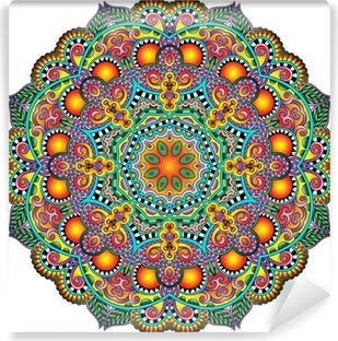 Fototapeta samoprzylepna Ornament koronki koło, okrągły wzór dekoracyjny geometryczny serwetka