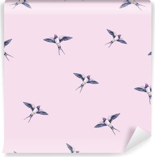 Fototapeta samoprzylepna Piękna jaskółka na różowym tle. akwarela ilustracja. wiosenny ptak przynosi miłość. Praca ręczna. wzór