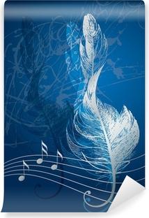 Fototapeta samoprzylepna Srebrny klucz wiolinowy w postaci ptaka pióra na niebieski