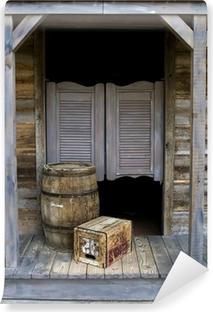 Fototapeta samoprzylepna Western Saloon Style z beczki i pole