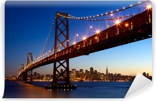 Vinylová Fototapeta San Francisco Bay Bridge a panorama při západu slunce, Kalifornie, USA