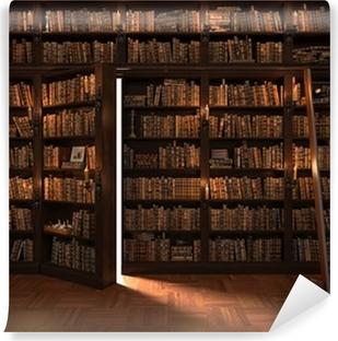 Fototapeta winylowa Sekretne drzwi w regale. Tajemnicza biblioteka z oświetlenia świec. Z rocznika rzeczy.