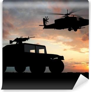 Vinylová Fototapeta Silueta vozu přes západu slunce s vrtulníkem.
