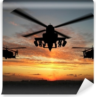 Vinylová Fototapeta Silueta vrtulníku