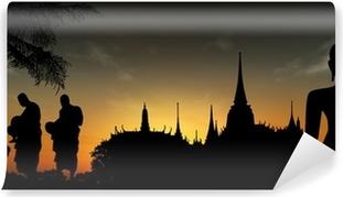 Vinylová Fototapeta Siluety mnichů, Thajska