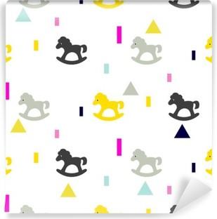 Fototapeta winylowa Siwy koń na biegunach, różowy i żółty dzieciak wzór. Dziecko jazda zabawka wektor szwu do druku tkanin i odzieży.