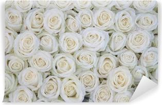 Vinylová Fototapeta Skupina bílých růží po dešťovou sprchou