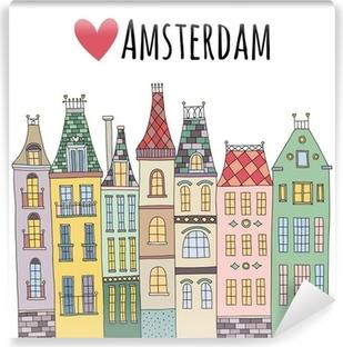 Fototapeta winylowa Śliczne ręcznie rysowane wektor w Amsterdamie domy