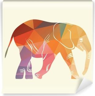 Fototapeta winylowa Słoń kreskówki. Sylwetka słonia zebranych z