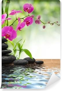 Vinylová Fototapeta Složení bambusu-fialová orchidej černé kameny