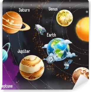 Vinylová Fototapeta Solární systém planety, vektorové ilustrace horizontální