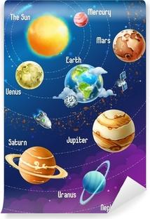 Vinylová Fototapeta Solární systém planety, vektorové ilustrace vertikální
