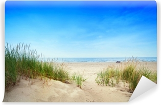 Fototapeta winylowa Spokojna plaża z wydmami i trawa zielona. spokojny ocean
