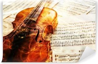 Vinylová Fototapeta Staré housle ležící na noty