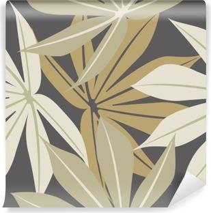 Fototapeta winylowa Stylowe szwu z tropikalnych liści