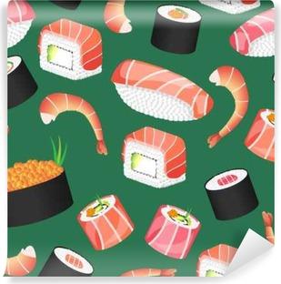 Fototapeta winylowa Sushi zielony wzór