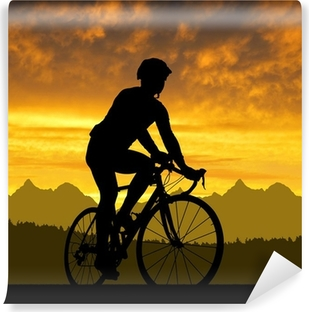 Fototapeta winylowa Sylwetka rowerzysty na rowerze na drogach na zachodzie słońca