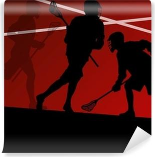 Fototapeta winylowa Sylwetki zawodników lacrosse aktywnych tle sportowych illustrati