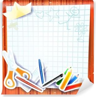 a02f09329ec69 Fototapeta Elementy Przybory szkolne na podszyciem Sketchbook ...