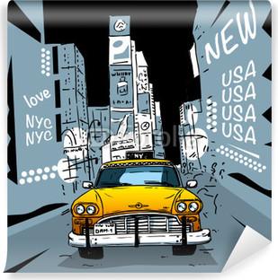 Vinylová Fototapeta Time Square New York City Taxi