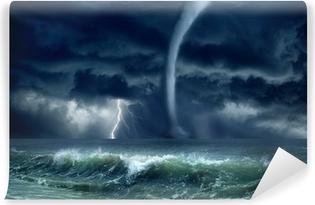 Vinylová Fototapeta Tornado, blesky, moře