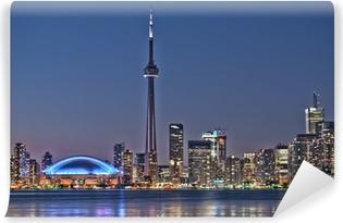 Vinylová Fototapeta Toronto noc panorama CN Tower v centru města mrakodrapy západ slunce Canad