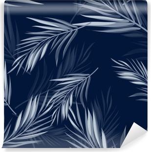 Fototapeta winylowa Tropical szwu monochromatyczny niebieski indygo kamuflażu tło z liści i kwiatów