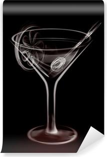 Vinylová Fototapeta Umělecké Ilustrace Smoke Martini koktejlové sklenice na černém