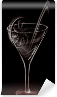 Vinylová Fototapeta Umělecké Smoke Koktejlové sklenice na černém