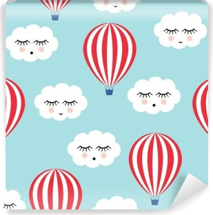 Fototapeta winylowa Uśmiechnięty śpiących chmury i balonów na ogrzane powietrze szwu. Cute baby shower tło wektor. Styl rysowania dla dzieci.