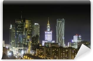 Vinylová Fototapeta Varšava obchodní čtvrti v noci