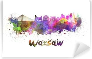 Vinylová Fototapeta Varšava panorama v akvarel