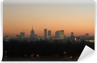 Vinylová Fototapeta Varšava panorama v podzimní večer