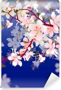 Vinylová fototapeta Vektor kvetoucí strom brunch v zahradě na modré obloze zpět