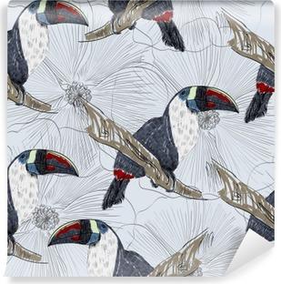 Vinylová Fototapeta Vektor skica papouška s květinami. Ručně kreslenými ilustrační
