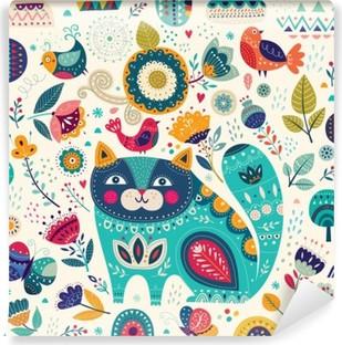 Vinylová Fototapeta Vektorové barevné ilustrace s krásná kočka, motýli, ptáci a květiny