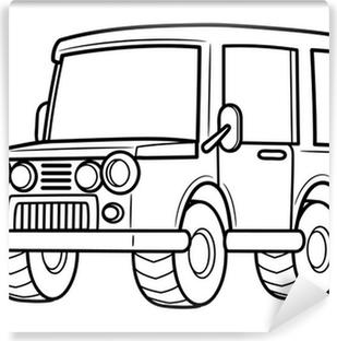 Fototapeta Cernobily Podrobne Kreslena Off Road Jeep Horolezecke