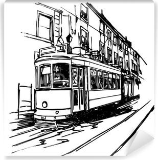 Vinylová Fototapeta Vektorové ilustrace typických tramvaje v Lisabonu - Portugalsko