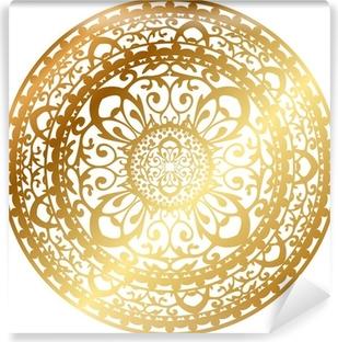 Vinylová Fototapeta Vektorové ilustrace zlatý orientální koberec / ubrousku