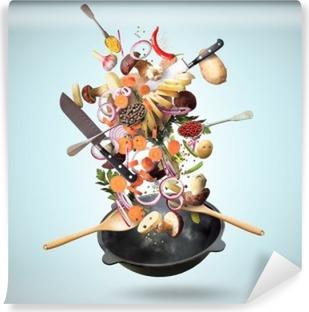 Vinylová Fototapeta Velký železo pánev s padající zeleninou a houbami