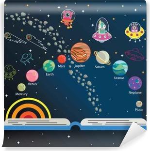 Vinylová Fototapeta Vesmír děti, infografiky, sluneční soustava, srovnání planety, Slunce a Měsíce, Galaxies Klasifikace, Děti prostor učení, Full vektor